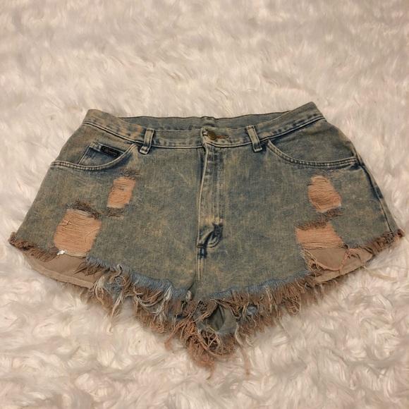 Wrangler Pants - Extremely distressed wrangler cutoff shorts